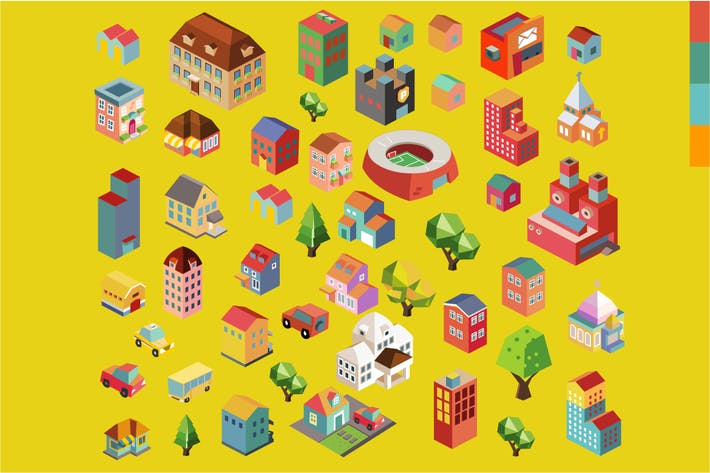 Thumbnail for Colorful vector isometric buildings