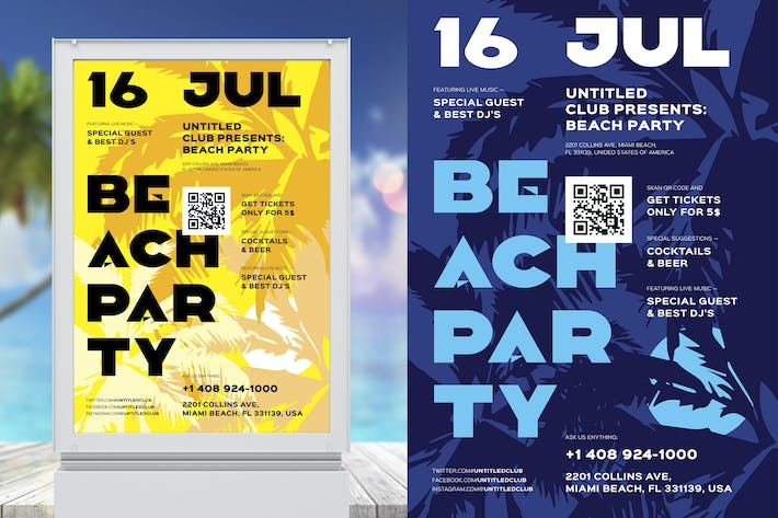 Thumbnail for Beach Party Poster Template