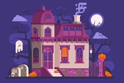 Halloween Haunted House Szene