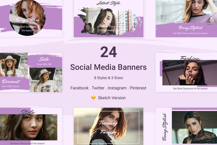Cover Image For 24 Social Media Banners Kit (Vol. 2) for Sketch