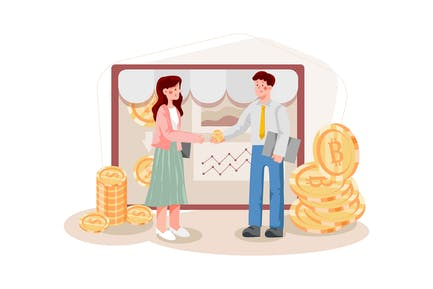 Blockchain Platform for E-commerce Illustration