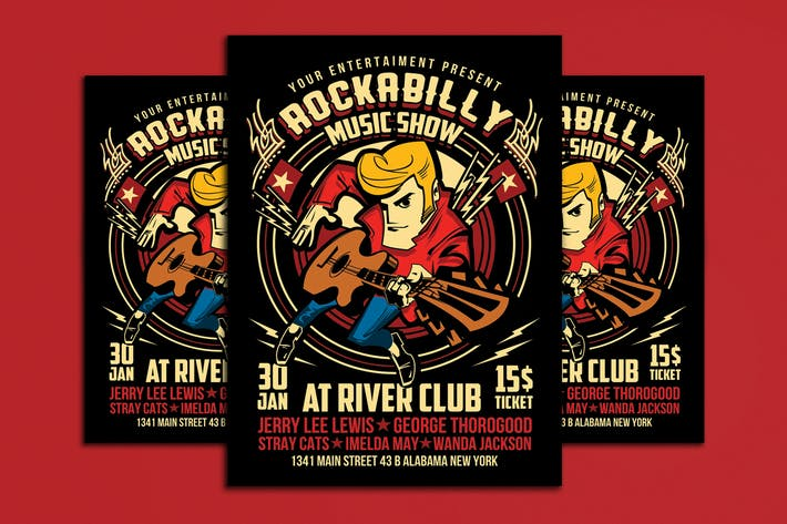Thumbnail for Rockabilly Music Show Poster Flyer Vol 2