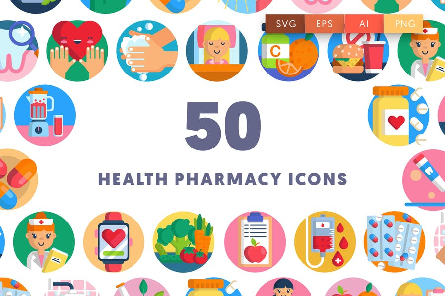 50 Healthcare pharmacy icons