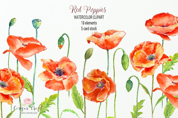 Thumbnail for Watercolor Red Poppy and Card Template