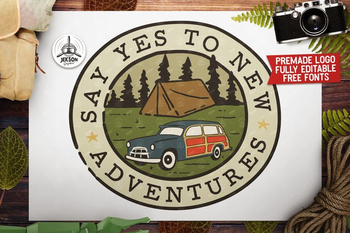 Thumbnail for Adventure Vector Patch - Say Yes Summer Logo Retro