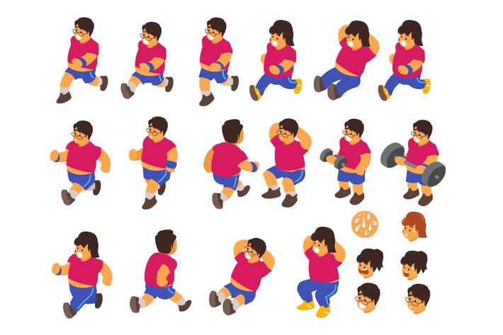 Thumbnail for exercise poses man and women. vector