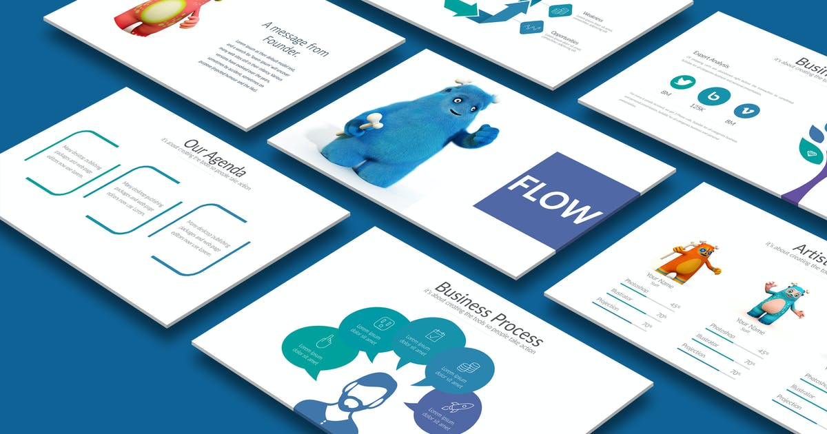 Download FLOW Powerpoint Template by Artmonk