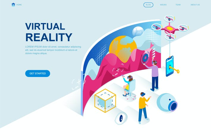 Thumbnail for Virtual Reality Isometric Landing Page Template