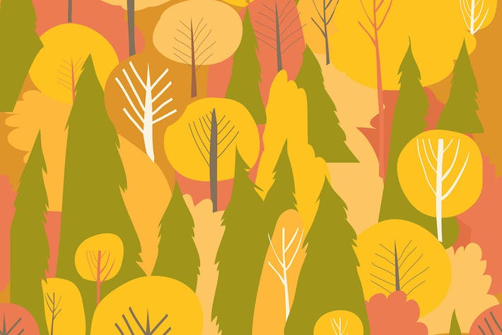 Thumbnail for Seamless vector autumn forest pattern. Fall backgr