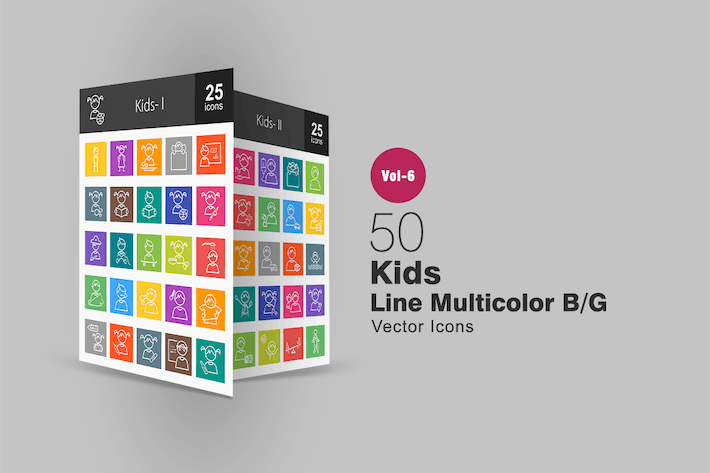 Thumbnail for 50 Kids Line Multicolor B/G Icons