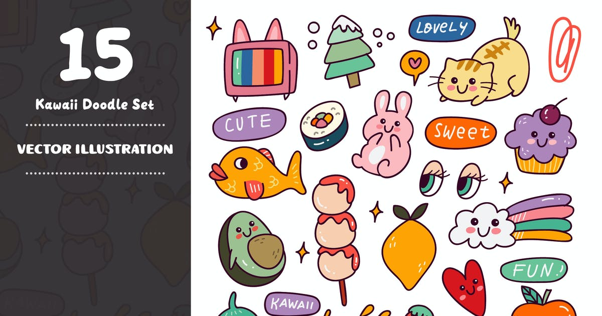 Download Kawaii Doodle Set by GoDoodle