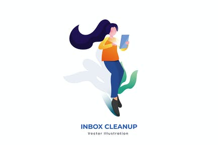 Inbox Clean Up vector illustration