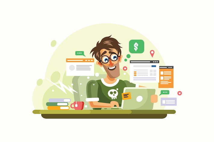 Thumbnail for Young Man Online Entrepreneur Vector Illustration