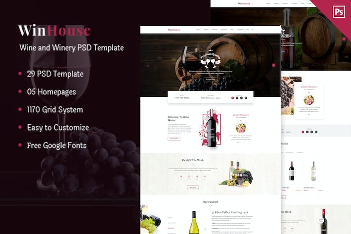Thumbnail for Wizym | Wine & Winery PSD Template