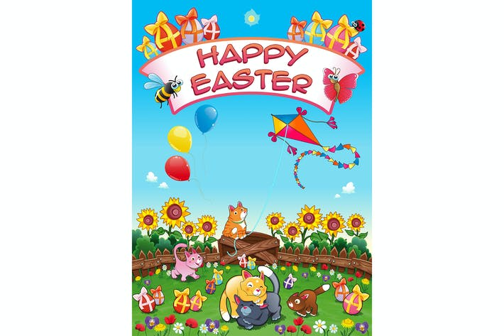 Thumbnail for Happy Easter Card with Cats and Eggs