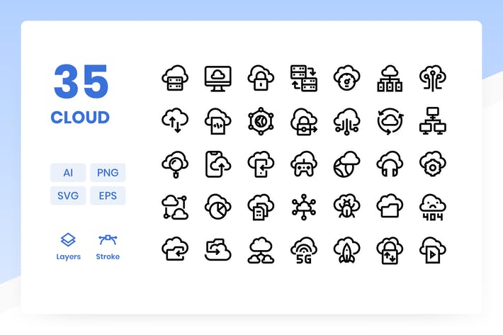 Thumbnail for Cloud Data - Icons Pack