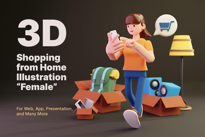 3D einkaufen von zu Hause aus - weiblich
