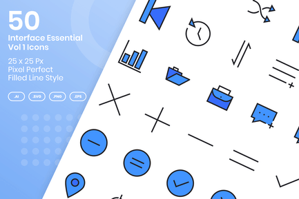 50 Interface Essential Icons Vol 1 - Filled Line