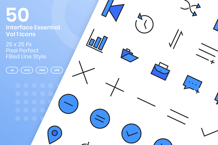 Thumbnail for 50 Interface Essential Icons Vol 1 - Filled Line
