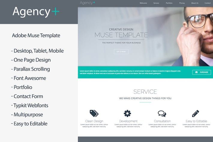 Thumbnail for AgencyPlus - One Page Multi-Purpose Muse Template