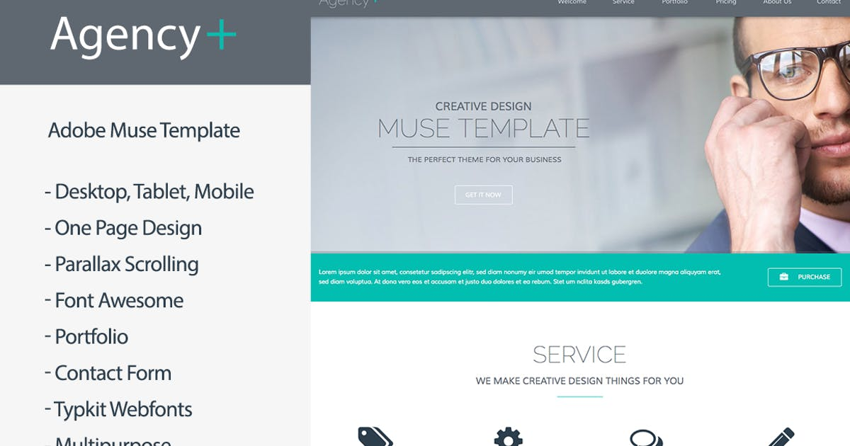Download AgencyPlus - One Page Multi-Purpose Muse Template by MuseFrame