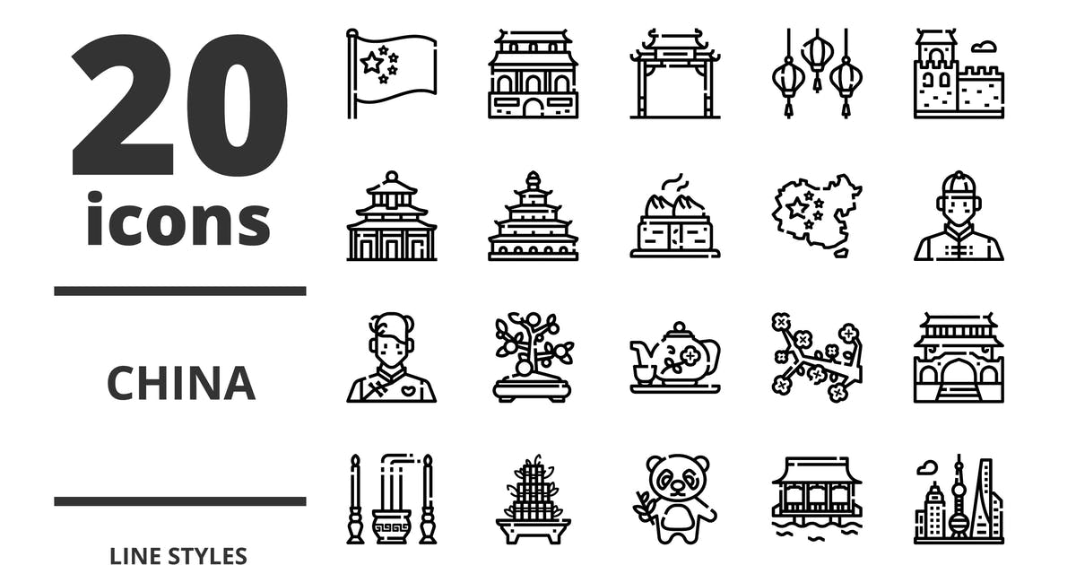 Download China Line icons packs by linector