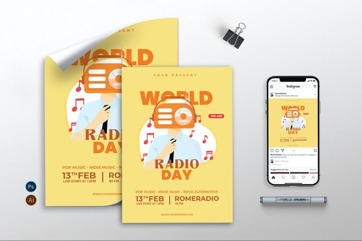 Thumbnail for World Radio Day vol.01 - Flyer, Poster & IG TY