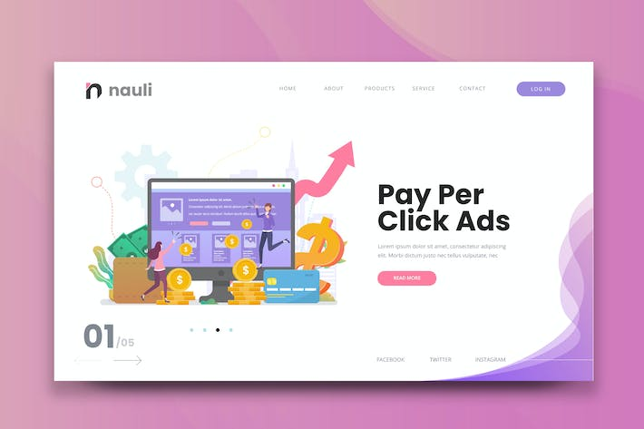 Thumbnail for Pay Per Click Ads Web PSD and AI Vector Template