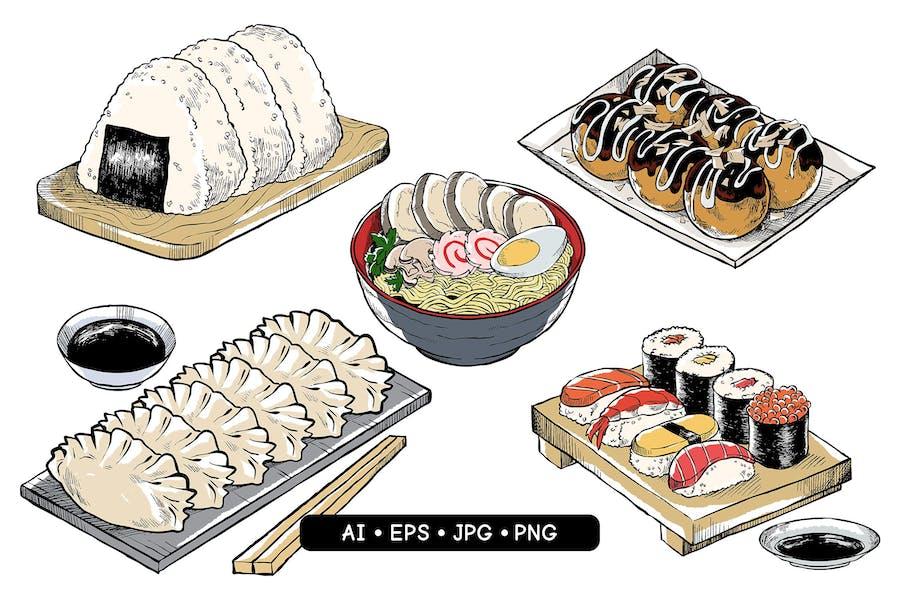 Hand Drawn Japanese Food