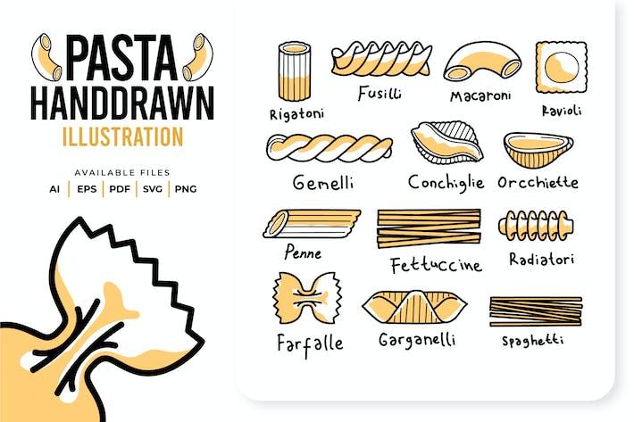 Pasta Handgezeichnet