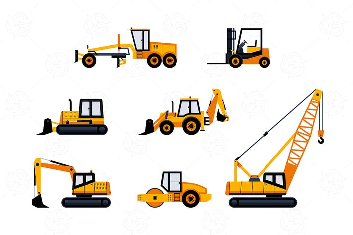 Thumbnail for Construction Vehicles - modern vector objects set