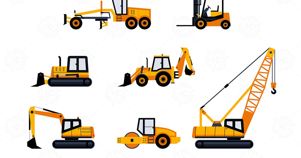 Download Construction Vehicles - modern vector objects set by BoykoPictures