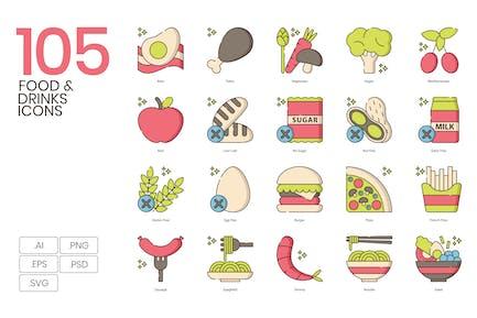 105 Food & Drinks Icons | Hazel Series