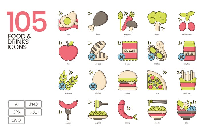 Thumbnail for 105 Food & Drinks Icons | Hazel Series