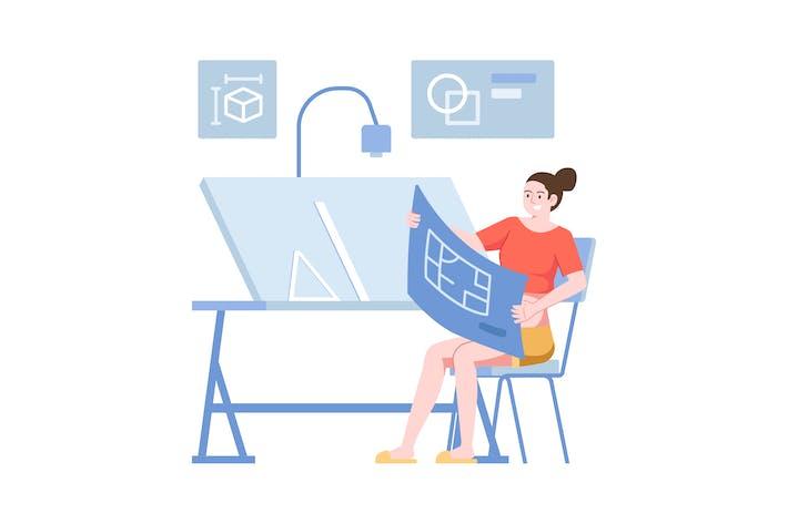 Blue Print Flat Illustration