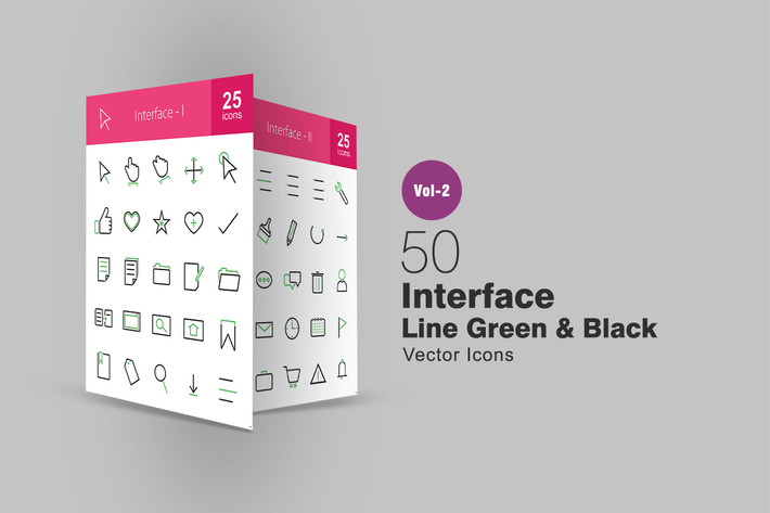 Thumbnail for 50 Interface Line Green & Black Icons