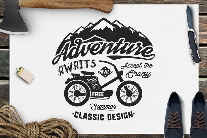Thumbnail for Adventure Awaits Logo / Camping Retro Badge