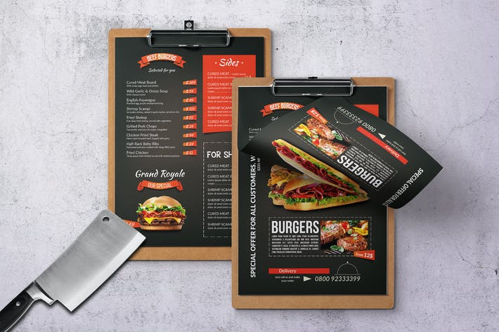 Thumbnail for Grill BBQ Single Page Food Menu - A4 and US Letter