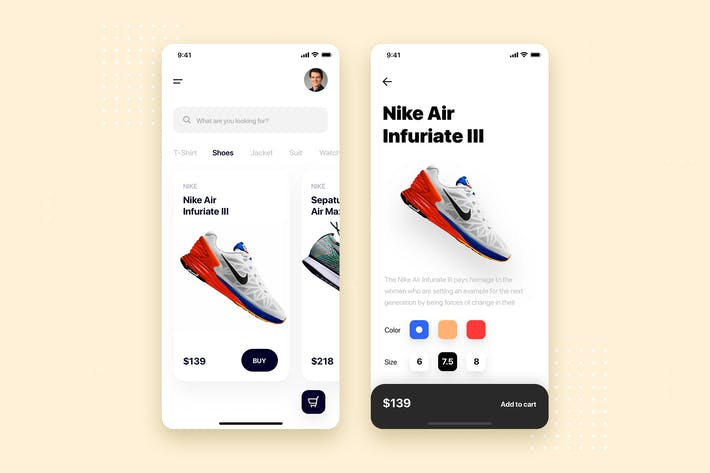 Shopping Store Mobile App UI Kit Template