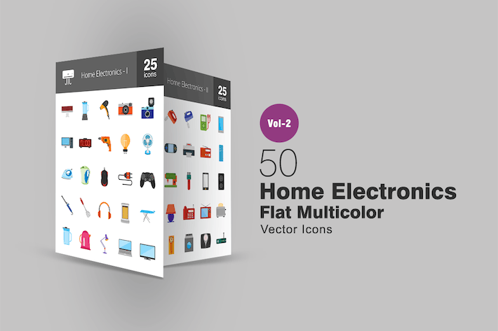Thumbnail for 50 Home Electronics Flat Multicolor Icons