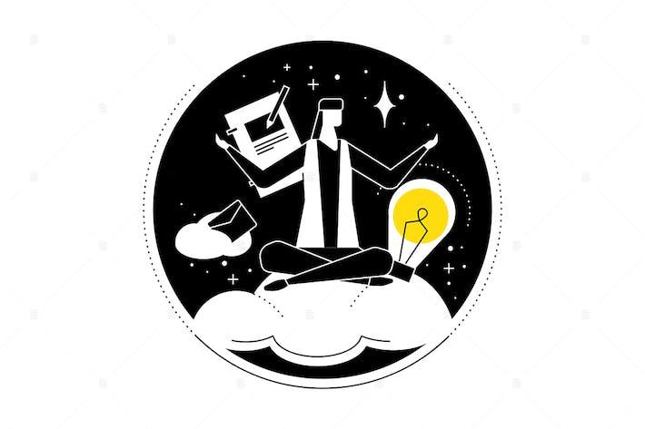 Thumbnail for Ilustración de estilo de diseño plano de Mindfulness en el trabajo