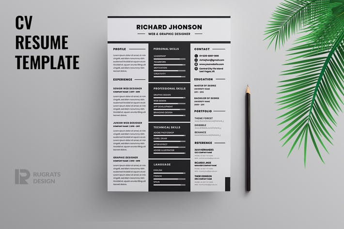 Thumbnail for Minimalist CV  Resume R43 Template