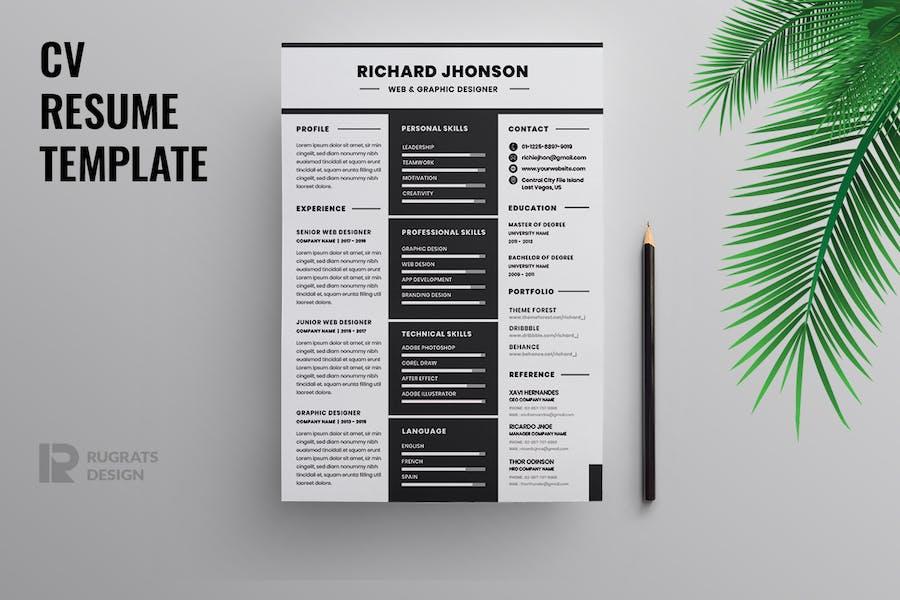 Minimalist CV  Resume R43 Template