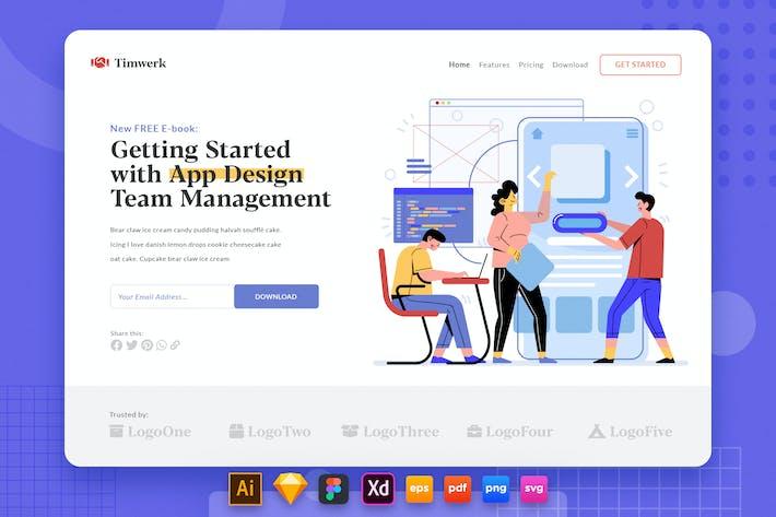 Thumbnail for Landing Page V.36 Teamwork - App Developer