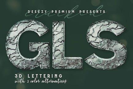 Cracked Glass – 3D Lettering