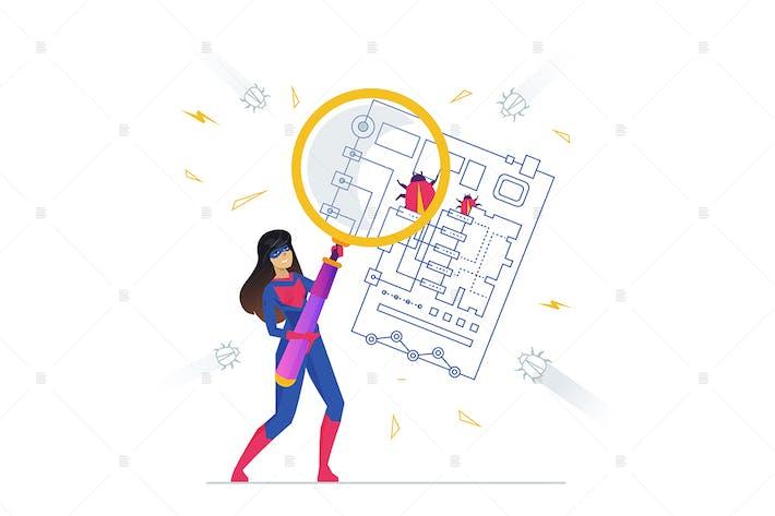 Thumbnail for Bug fixing flat design style illustration