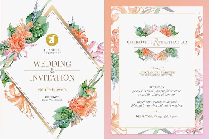 Thumbnail for Цветочные ручной работы акварель Свадебное приглашение