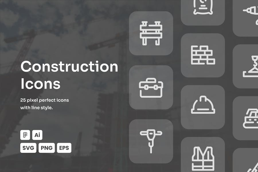 Construction Dashed Line Icons