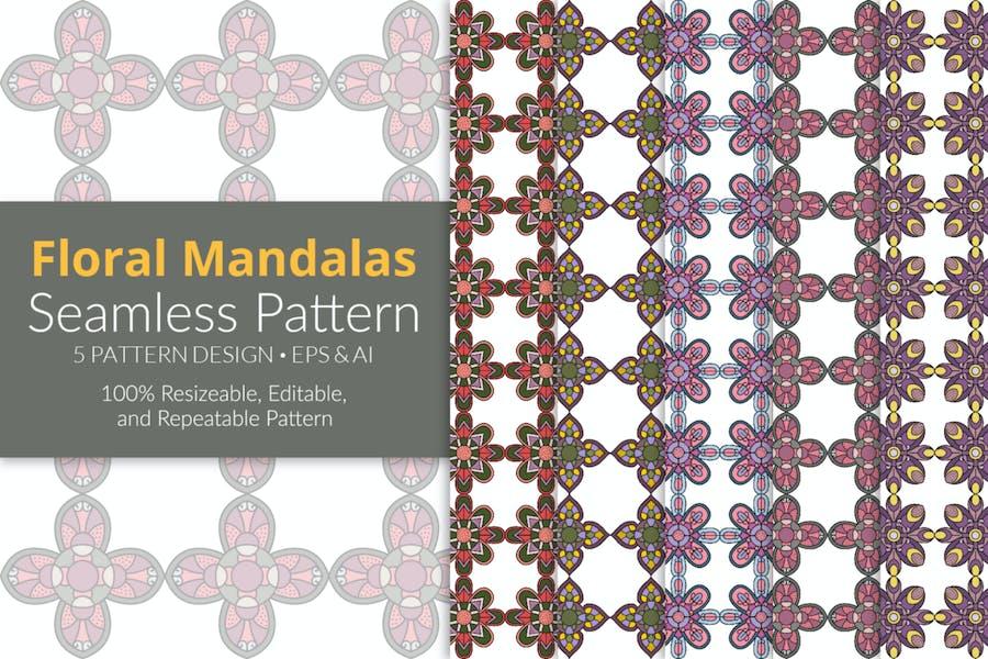 Floral Mandalas Seamless Pattern