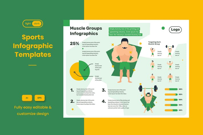 Thumbnail for Sport Infographic Examples: Bodybuilder & Fitness